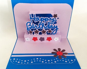 3 D Handmade cards: Birthday pop up card - unique birthday card - happy birthday - sapphire blue - for her - Wcards