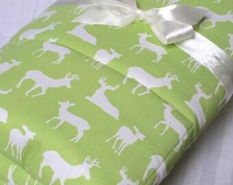"Padded Baby Play Mat Woodland Deer Green Animals Baby Gift Quilt Gender Neutral Newborn Monogram Crib Bedding Nursery 35"" x 35"" or 40"" x 35"""
