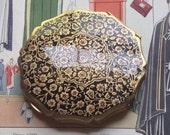 StrattonCompact Black Enamel Art Deco Style Gold Mirror Powder Purse Flower Garden England