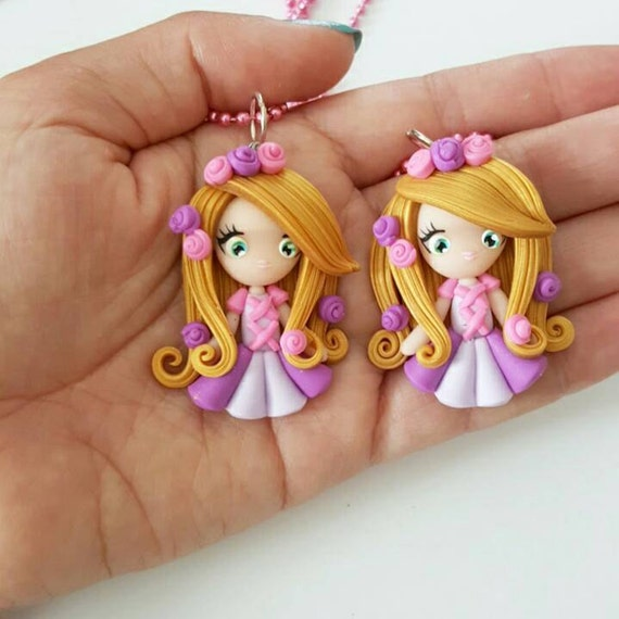 LIMITED EDITION Rapunzel Necklace, Princess, Polymer Clay Pendant, Necklace, Cosplay, polymer clay, clay pendant, Kawaii, doll, charm