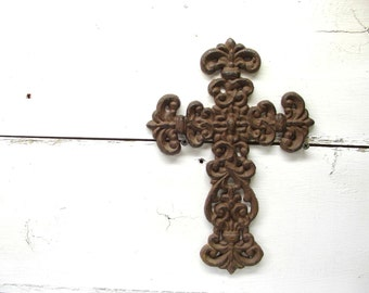 Ornate Cross Cast Iron Decoration  - Decorative Rusty Shabby Grungy Decor - Gothic - Great Gift
