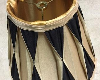 Lamp Shade, ONE Black and Gold Harlequin Lampshade, Masculine Lamp Shade