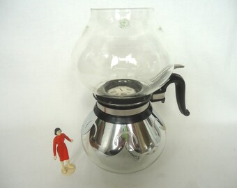 Vintage Vacuum Glass SILEX COFFEE Maker / Pinehurst Decorated Design/Silex Lox-In 1930's/Deco/Silver/Glass Pyrex Glass Coffee Pot