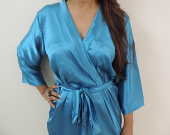 Code: H-10 Satin Solid Color Kimono Crossover patterned Robe Wrap - Bridesmaids gift, getting ready robes, Bridal shower favors, baby shower