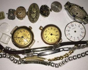 Art Deco Watch Collection Parts Edwardian Watches Destash Collection Wholesale Steampunk Collage Art Project