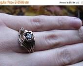 DEADsy LAST GASP SALE Golden Rose : Diamond and White Gold Vintage Engagement Ring / Wedding Set - 1970s Designer