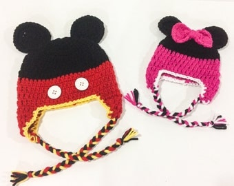 Mickey or Minnie Mouse Crochet Hat