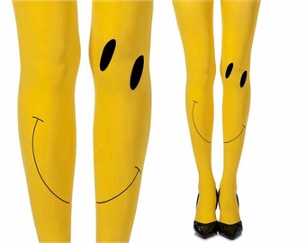 Opaque yellow tight|Happy tights|Smile print tights|Design by Zohara Tights|Fashion Tights|Happy Face|Free Shipping|F347-YB