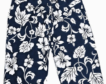 Handmade in Hawaii Navy Hawaiian Print Drawstring Hip Hugger Cropped Pants One Size M
