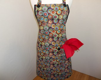 Full Art Apron With Multicolored Circles On Black