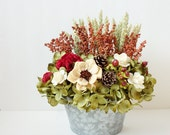Modern Flower Arrangement-Floral Wall Pocket-Dried Flowers-Earthy Decor-Rustic Home Decor-Silk Flower Arrangement-Rustic Arrangement