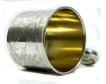 C. 1930s Webster Sterling Silver Baby Birth Record Cup