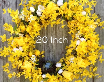 Forsythia Wreath, Spring Wreath, Yellow Tulip and Mini Daffodil Wreath, Easter Decor, Mother's Day, Front Door Decoration