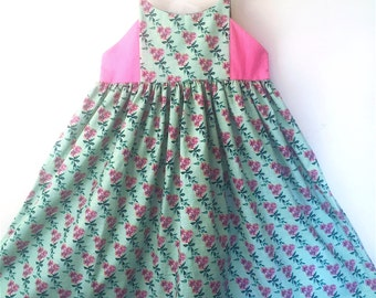 Girls Sundress in Pink and Green for size 8 / 10 Cotton Floral and Polka Dots one of a Kind Dress
