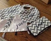 Bib,burp cloth,baby wipes case set includes 5 pieces. includes monogram,Great Shower gift.