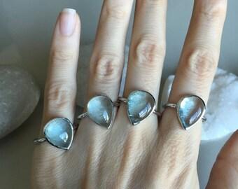 SALE Aquamarine Cabochon Ring- Stone Ring- Silver Stone Rings- Gemstone Rings- March Birthstone Ring- Silver Rings- Aquamarine Silver Rings