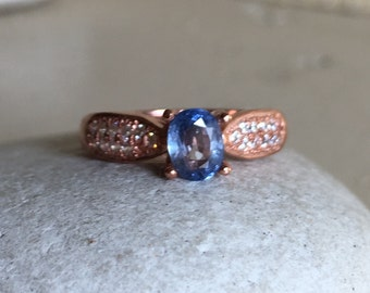 Blue Sapphire Engagement Ring- Rose Gold Sapphire Promise Ring- September Birthstone Ring- Blue Gemstone Promise Ring- Oval Sapphire Ring