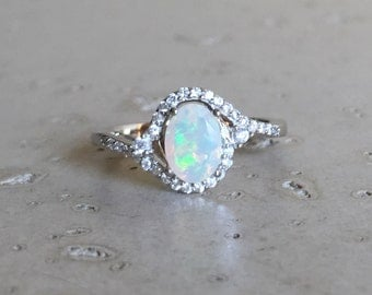 Halo Opal Promise Ring- Oval Opal Engagement Ring- Art Deco Wedding Ring- Genuine Fire Opal Solitaire Ring- October Birthstone Ring