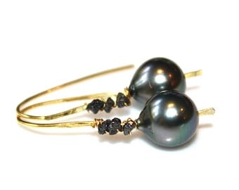 Floating Pearl Earring Grey Tahitian Pearl Earring Raw Diamond Earring Black Diamond Earring Wedding Earring Bridesmaid Tahitian Earring