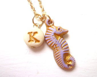 Seahorse Necklace, Beach Flowergirl Gift,  Charm and Letter, Ocean Jewelry, Sea Creatures, little girl gift, Beach Wedding, from Grandmother