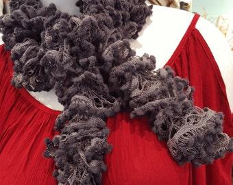 Handmade Dark Gray Pom Pom Crochet Scarf
