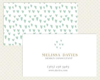 Mint Gold Business Card Design. Modern Branding Love Heart White Branding Business Card Design Hearts Business Card Light Business Card