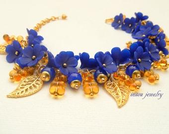 Blue Bracelet, Flower Bracelet, Wedding Bracelet, Handmade Bracelet, Flower Jewelry, Wedding Jewelry, Blue Jewelry, Gift For Her