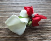 Boutonniere, White Calla Lily and Red Ribbon Boutonniere, White Calla Lily Corsage