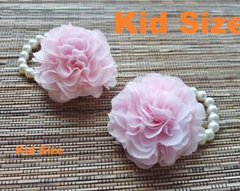 Kid Size corsage, Chiffon Flower corsage, flower girl corsage, baby pink corsage