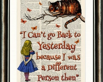 Alice in Wonderland Quote 2 Orange vintage book page print on a page from a late 1800s Dictionary Buy 3 get 1 FREE