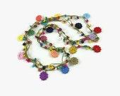 Colorful Crochet Flower  Necklace, Fiber  Necklace, Beaded Lariat  Necklace, Long Wrap Necklace , Wrap Bracelet  Bohemian Fun Jewelry
