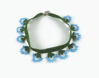 Blue Flowers Oya Crochet Necklace Green Choker - Statement Necklace - Dainty Crocheted Jewelry - Gift For Her