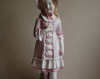 """German Bisque Girl in Pink Bonnet, 12.25"""", Repaired,  Blue Diamond and R mark"""