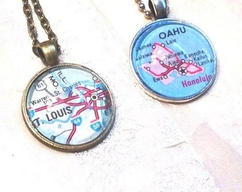 20% SALE City Dome Necklaces Upcycled From Vintage Maps Handmade Jewelry Select Your City