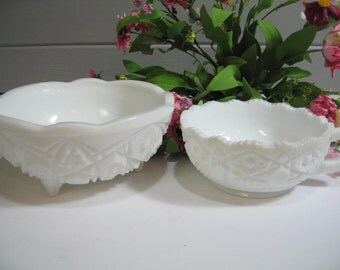 Milk Glass Bowl, Pressed Glass, Milk Glass Candle Holders, Candy Dish, Set of two