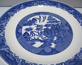 Blue Willow Platter, 12 inch Transferware Round Serving Platter, Royal China