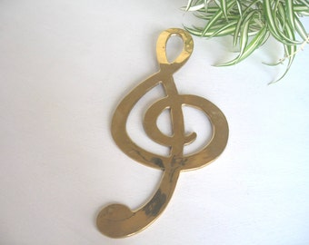 Brass Treble Clef,  Treble Clef, Hanging Brass, Brass Music Sculpture
