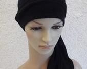 Chemo head wear, full head cover with ties, turban snood, bonnet for short hair, viscose jersey head wrap, chemo caps and hats