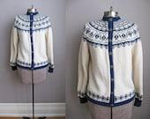 1970s Vintage Cardigan Norwegian Fair Isle Sweater Cream Navy Blue / Small Medium