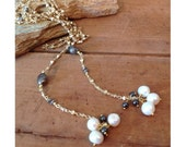 Pearl lariat, gold lariat, pearl necklace, pearl and hematite necklace