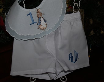 Heirloom Peter Rabbit First Birthday Blue and White Double Scalloped Cotton  Bib With Monogram White Boxers