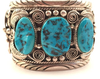 Vintage New Old Stock Massive Sterling Navajo Turquoise Cuff