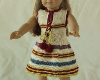 Cotton Sleeveless Summer Dress made for American Girl Doll or any other 18 inch Doll