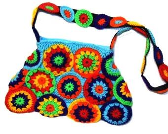 multicolor crochet CIRCLES ~ Crochet Bag, Granny Square Bag, Hippiebag,