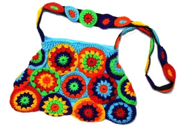 Crochet Circle Bag : multicolor crochet CIRCLES ~ Crochet Bag, Granny Square Bag, Hippiebag ...