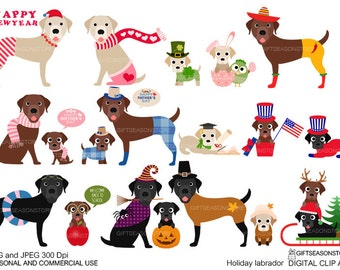 Holiday labrador Digital clip art for Personal and Commercial use - INSTANT DOWNLOAD