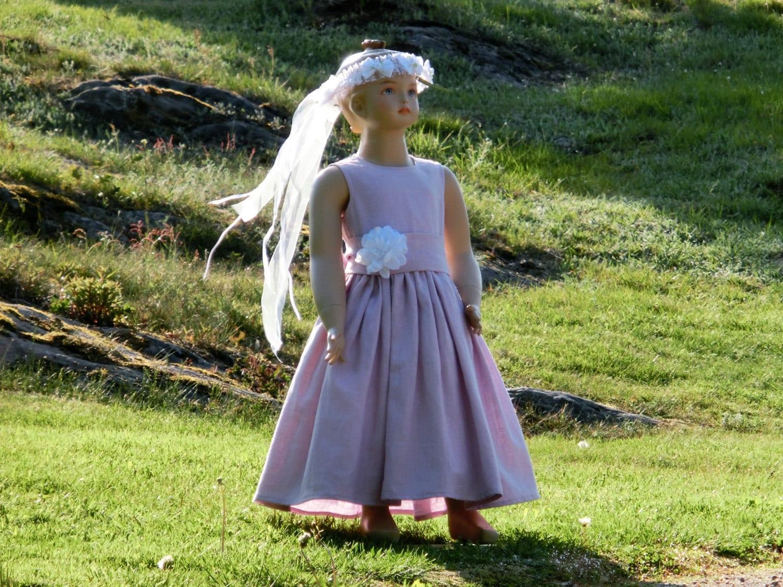 Linen flower girl dress Rustic flower girl dress Light