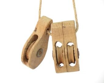 Pair of Vintage Handmade Wooden Pulleys  - Vintage Industrial Wooden Pulley - Boho Industrial Decor - Vintage Pulley