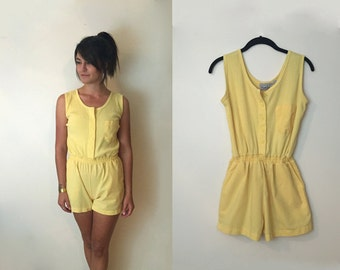 Vintage 1980's Bright Yellow Sports Jumper Romper Playsuit