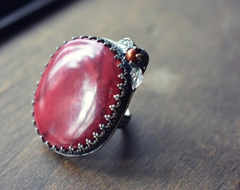 SALE - Red Vixen Cocktail Ring - Rosy Alunite Cabochon Ring in Sterling Silver - Size 9 1/2 US - Ready to Ship